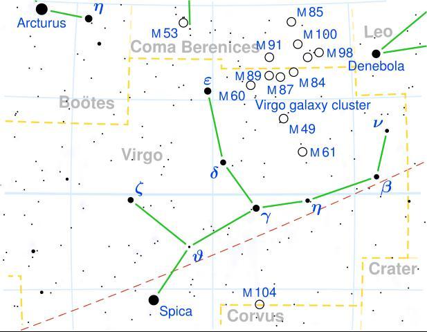 Localización de la constelación de Virgo