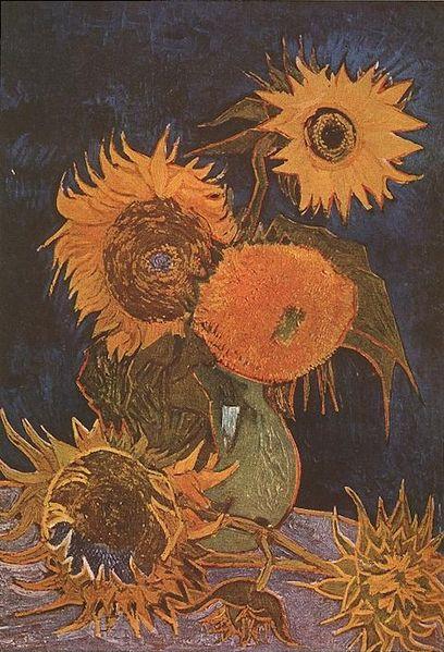 Jarrón de cinco girasoles - Van Gogh