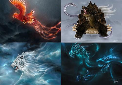 Suzaku, Byakko, Seiryu y Genbu – Las cuatro bestias sagradas