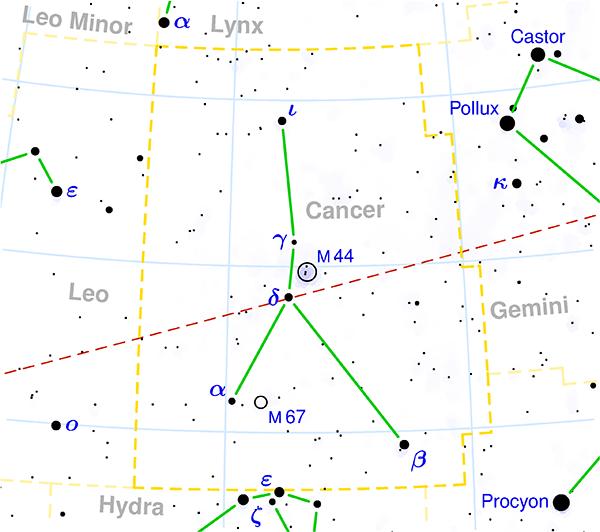 Localización constelacion de cancer