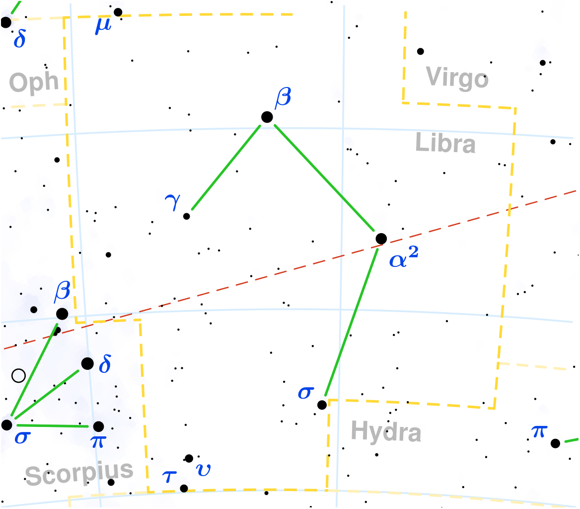 Localización de la constelación de Libra