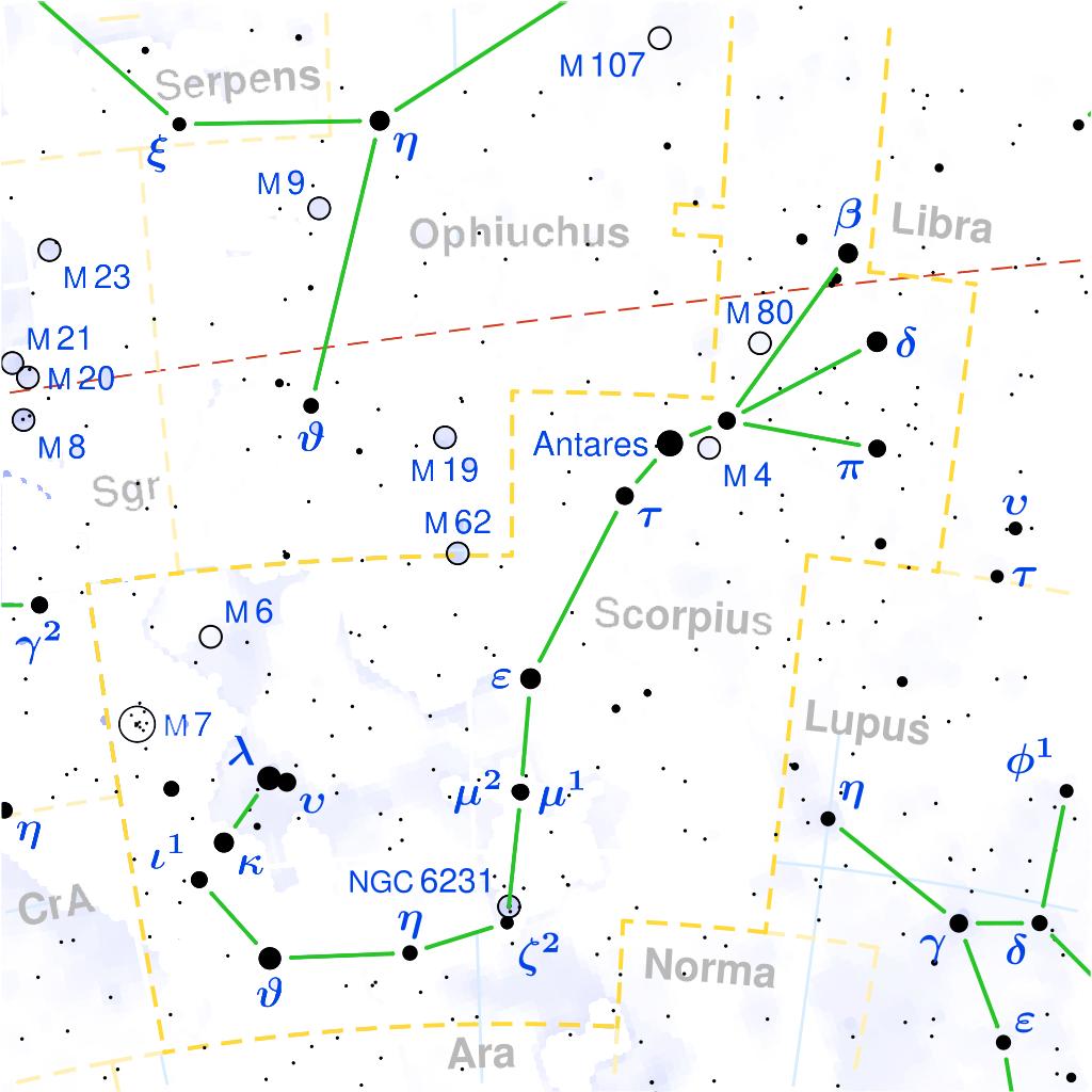 Localización de la constelación de Escorpio